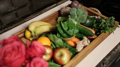 Top view of fresh fruits and vegetable in tray Stock Footage