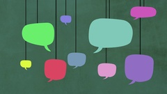 Speech bubbles falling down, hanging in lines. Animated flat design. Stock Footage
