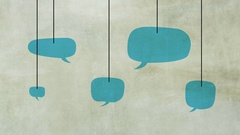 Speech bubbles on stone wall background. Animated flat design. Stock Footage