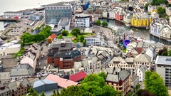 Aksla at the city of Alesund , Norway Stock Footage