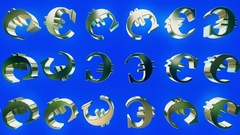 Rotating euro signs on blue Stock Footage