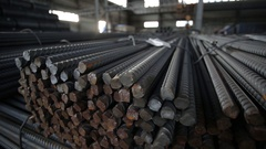 Cuts of the steel bars stored in a warehouse m/s left to right Stock Footage