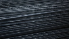 Ribbed steel bars in warehouse from up to down close up Stock Footage