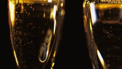 Macro shot of Golden Champagne - pure luxury Stock Footage
