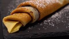 A speciality from France - French Crepes or pancakes with chocolate Stock Footage