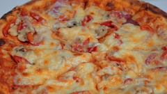 Italian Pizza with cheese mushrooms and tomatoes - fresh from the oven Stock Footage
