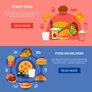 Fast Food 2 Flat Banners Webpage Stock Illustration