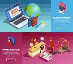 Hotel Service 2 Isometric Webpage Banners Stock Illustration