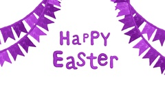 Happy Easter title with flags in Clay. Alpha matte. 4K Stock Footage