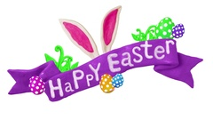 Happy Easter title in Clay. Rabbit and eggs. Alpha matte. 4K Stock Footage