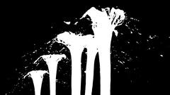 Beautiful fountain spray liquid like black paint or oil, fountain  Stock Footage