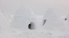 Igloo settlement in Siberia tundra. Stock Footage