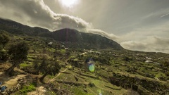 Clouds over rif moutains near chefchaouen morocco Stock Footage