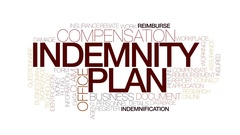Indemnity plan animated word cloud, text design animation. Kinetic typography. Stock Footage