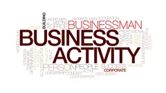 Business activity animated word cloud, text animation. Kinetic typography. Stock Footage
