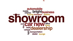 Showroom animated word cloud, text design animation. Stock Footage