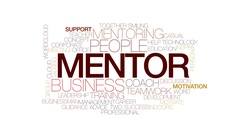 Mentor animated word cloud, text design animation. Kinetic typography. Stock Footage