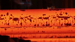 Red-hot iron bars Stock Footage