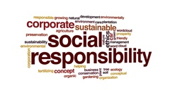 Social responsibility animated word cloud, text design animation. Stock Footage