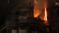 Steelmaking process at steel plant Stock Footage
