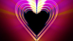 Growing Colorful Heart Shaped Glowing Paint Strokes Loop Stock Footage