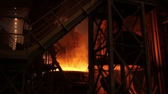 Steelmaking process at steel plant Stock Footage