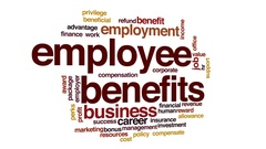Employee benefits animated word cloud, text design animation. Stock Footage