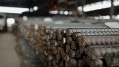 A truck leaves the warehouse fittings Stock Footage