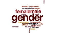 Gender animated word cloud, text design animation. Stock Footage
