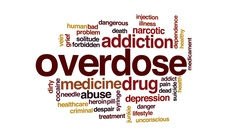 Overdose animated word cloud, text design animation. Stock Footage