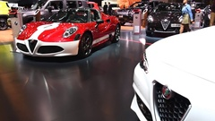 Alfa Romeo 4C Spider convertible sports car Stock Footage