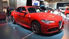 Alfa Romeo Giulia Quadrifoglio QV executive performance saloon car Stock Footage