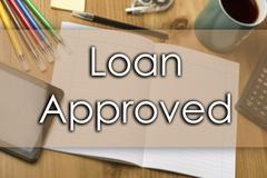 Loan Approved - business concept with text Stock Photos