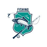 Fishing vector icon with carp fish, rod tackle Stock Illustration