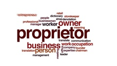 Proprietor animated word cloud, text design animation. Stock Footage