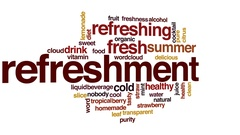 Refreshment animated word cloud, text design animation. Stock Footage