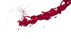 Red flow liquid like juice moves in slow motion . 3d render fluid cg slow motion Stock Footage