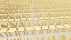 Rows with wooden chairs on white Stock Footage