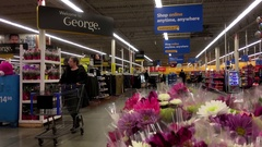 Motion of people shopping item inside Walmart store Stock Footage