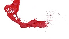 Red flow liquid like paint moves in slow motion . 3d render fluid cg slow motion Stock Footage