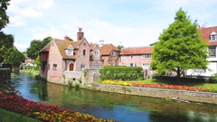 View of typical houses and buildings in Canterbury, England Stock Footage