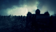 Army March Close to a Muslim Mosque at Night with a Crescent Moon Stock Footage