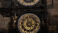 Slow tilt on Prague orloj by night of Czech Republic Stock Footage
