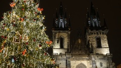 Our Lady cathedral bell towers in Prague, Czech Republic Stock Footage