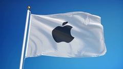 Apple company flag in slow motion, editorial animation Stock Footage