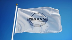 Nissan Motor Company Ltd flag in slow motion, editorial animation Stock Footage