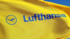 Lufthansa company flag in slow motion, editorial animation Stock Footage
