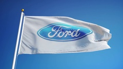 Ford Motor Company flag in slow motion, editorial animation Stock Footage