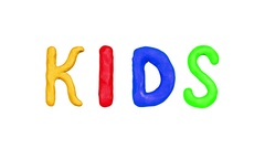 Animation Clay Title Kids and Children. Alpha matte. 4K Stock Footage