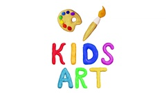 Animation Clay Title Kids Art and paintbrush. Alpha matte. 4K Stock Footage